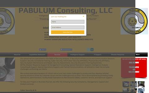Screenshot of Services Page pabulumconsulting.com - PABULUM Consulting, LLC - captured Oct. 4, 2016