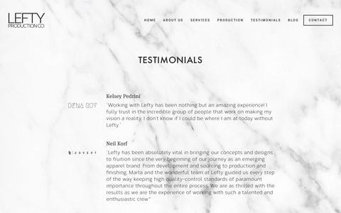 Screenshot of Testimonials Page leftyproductionco.com - Testimonials — Lefty Production Co. - captured Nov. 10, 2018