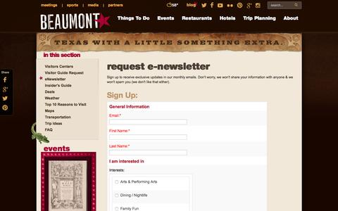 Screenshot of Signup Page beaumontcvb.com - Beaumont E-Newsletter Request Form | Beaumont CVB - captured Nov. 22, 2016