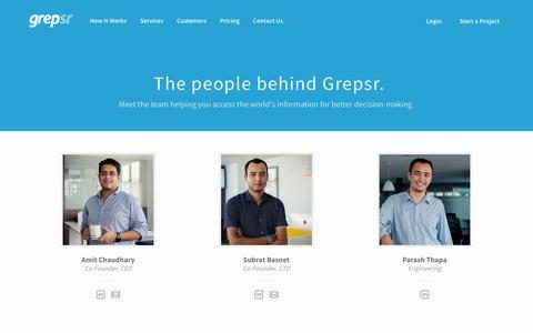 Screenshot of Team Page grepsr.com - The People Building Your Personal Data Extractor at Grepsr - captured April 4, 2018