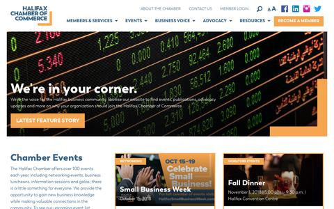 Screenshot of Home Page halifaxchamber.com - Halifax Chamber of Commerce - captured Sept. 26, 2018