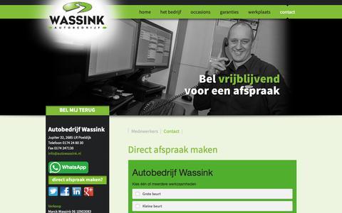 Screenshot of Contact Page autowassink.nl - Direct afspraak maken - captured Oct. 4, 2018
