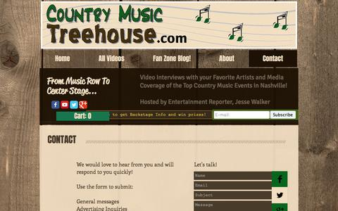 Screenshot of Contact Page countrymusictreehouse.com - CountryMusicTreehouse.com  Video Interviews with Country Music Artists   Contact - captured May 21, 2017