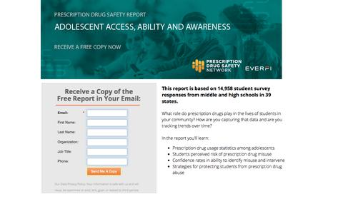 Screenshot of Landing Page everfi.com - Free Report: Adolescent Prescription Drug Abuse Survey - captured Sept. 19, 2018