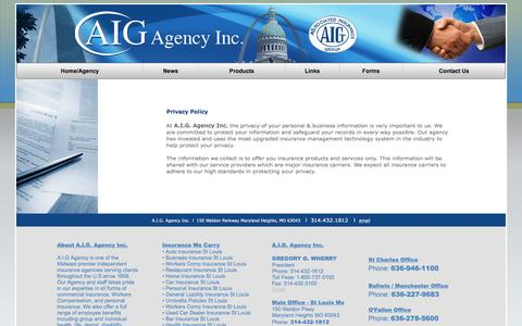 Screenshot of Privacy Page aigagency.com - AIG Agency - captured Oct. 9, 2017