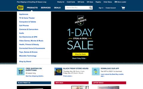 Screenshot of Home Page bestbuy.com - Best Buy: Free Shipping on Everything All Season Long - captured Nov. 25, 2015