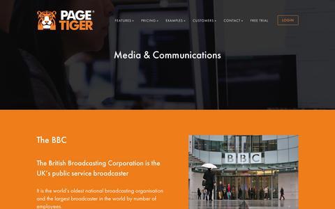 Screenshot of Press Page pagetiger.com - Customers – Media & Communications - PageTiger - captured Sept. 26, 2018