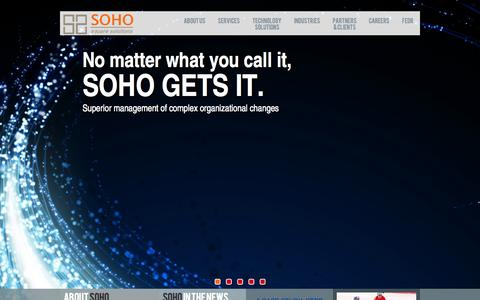 Screenshot of Home Page sohosquaresolutions.com - SOHO | Management and Technology Consulting - captured Sept. 30, 2014