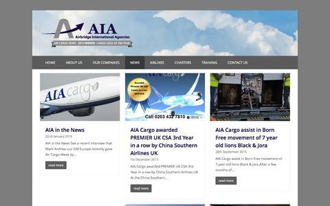 Screenshot of Press Page aiacargo.com - Latest News | Airbridge International Agencies - captured Feb. 5, 2016