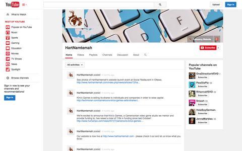Screenshot of YouTube Page youtube.com - HartNamtemah  - YouTube - captured Oct. 22, 2014