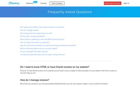 Screenshot of FAQ Page orankl.com - Orankl | Frequently Asked Questions - captured Oct. 18, 2018