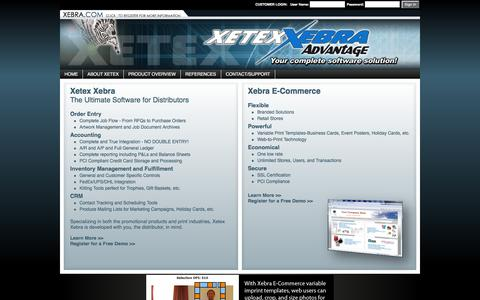 Screenshot of Home Page xebra.com - Xetex Business Systems, Inc. - captured Feb. 23, 2016