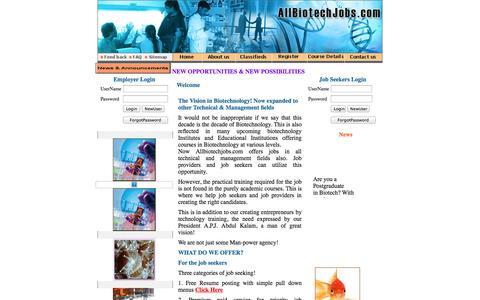 Screenshot of Home Page allbiotechjobs.com - Allbiotechjobs.com bringing job seekers and job providers in Biotechnology - captured Oct. 4, 2014