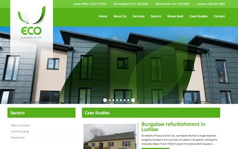 Screenshot of Home Page ecoukltd.com - A full insulation service from Eco cladding | Eco Cladding UK Ltd - captured Oct. 1, 2014