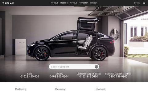 Screenshot of FAQ Page tesla.com - Support | Tesla UK - captured April 25, 2018