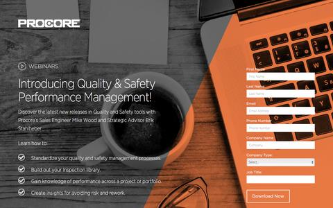 Screenshot of Landing Page procore.com - Introducing Quality & Safety Performance Management! - captured March 23, 2016