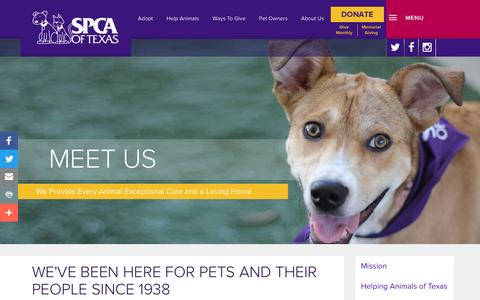 Screenshot of About Page spca.org - Landing Page - Meet Us - SPCA of Texas - captured Nov. 18, 2016