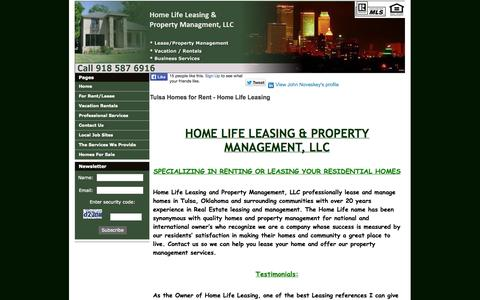 Screenshot of Home Page homelifeleasing.com - Tulsa Homes for Rent - Home Life Leasing - captured Oct. 3, 2014
