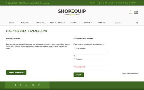 Screenshot of Login Page shop-equip.com - Customer Login - captured Sept. 25, 2018