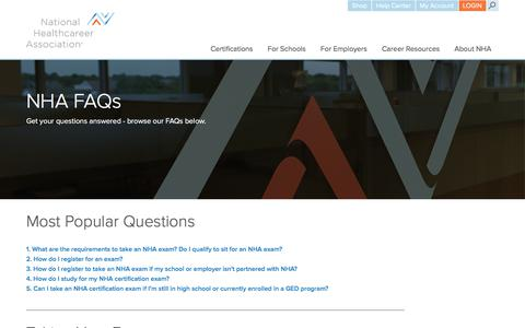 Screenshot of FAQ Page nhanow.com - NHA Certification Frequently Asked Questions - captured Oct. 23, 2017