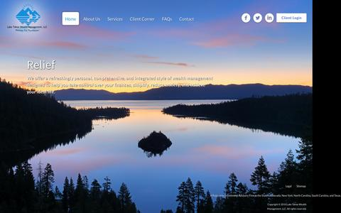 Screenshot of Home Page laketahoewealthmanagement.com - Home | Lake Tahoe Wealth Management, LLC - captured Oct. 1, 2014