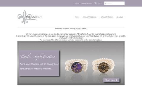 Screenshot of Home Page valcolbert.com - Val Colbert Button Jewelry - captured June 10, 2017