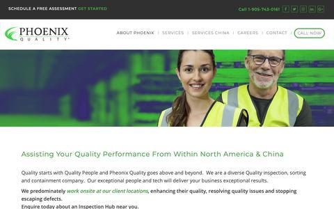 Screenshot of Locations Page phoenixquality.com - Phoenix Quality Locations - Quality Assurance Services Canada, USA & China - captured Dec. 22, 2018