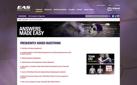 Screenshot of FAQ Page eas.com - EAS Frequently Asked Questions   Nutrition and Fitness Questions - captured Sept. 19, 2014