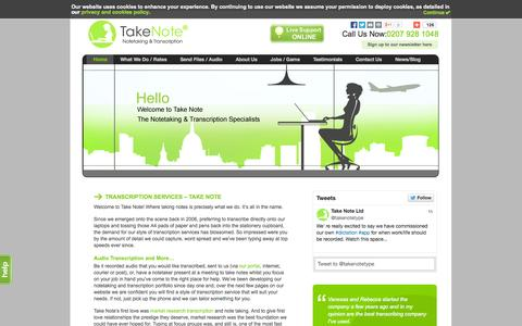Screenshot of Home Page takenotetyping.com - Home - Take Note - captured Oct. 9, 2014
