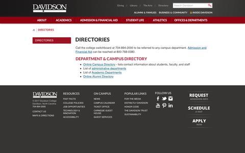 Screenshot of Contact Page davidson.edu - Directories - Davidson College - captured Oct. 7, 2018