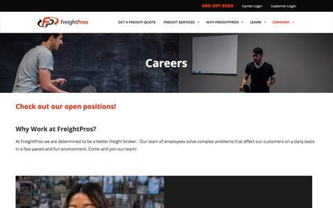 Screenshot of Jobs Page freightpros.com - Careers | FreightPros - captured Aug. 12, 2018