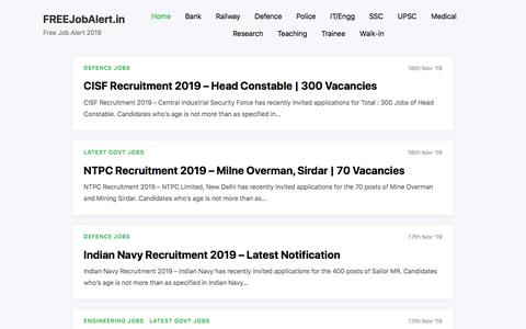 Screenshot of Home Page freejobalert.in - Free Job Alert 2019 (All Govt Jobs) - FREEJobAlert.in - captured Nov. 18, 2019