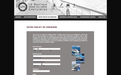 Screenshot of Menu Page boutique-des-croisieres.com - La Boutique des Croisières - Votre projet - captured July 7, 2018
