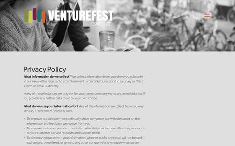Screenshot of Privacy Page venturefestoxford.com - Privacy policy - Venturefest Oxford 2018 - captured Sept. 21, 2018