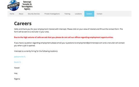 Screenshot of Jobs Page interceptsecuritygroup.com - Careers   Security Jobs   - captured Oct. 6, 2014