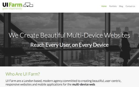 Screenshot of Home Page uifarm.co.uk - Responsive Web Design, London | UI Farm - captured Jan. 30, 2015