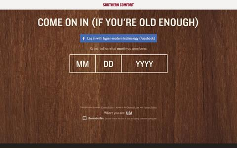 Screenshot of Home Page southerncomfort.com - Age Gate | Southern Comfort - captured Jan. 20, 2016
