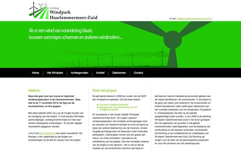 Screenshot of Home Page windparkhaarlemmermeerzuid.nl - Welkom | Windpark Haarlemmermeer-Zuid - captured Sept. 30, 2014