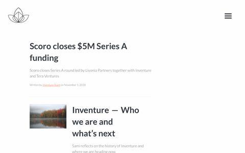 Screenshot of Press Page inventure.fi - News - Inventure, The Nordic Technology Fund - captured Nov. 6, 2018