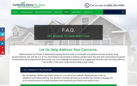 Screenshot of FAQ Page californiahomeforseniors.com - FAQ's - - captured May 13, 2017