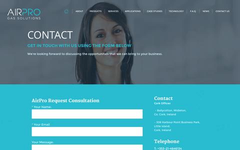 Screenshot of Contact Page airpro.ie - Air Pro - captured Sept. 30, 2014