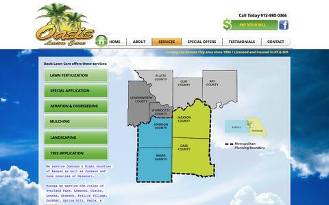 Screenshot of Services Page oasislawncarekc.com - OASIS LAWN CARE  | SERVICES - captured Dec. 1, 2016