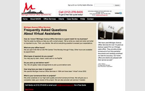 Screenshot of FAQ Page maoschicago.com - FAQ About Virtual Assistants   How to Hire a Virtual Assistant - captured Oct. 27, 2014