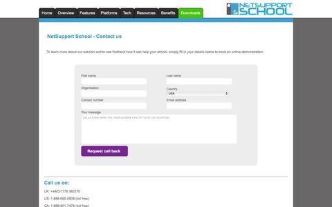 Screenshot of Contact Page netsupportschool.com - NetSupport School - Contact - captured Aug. 27, 2016