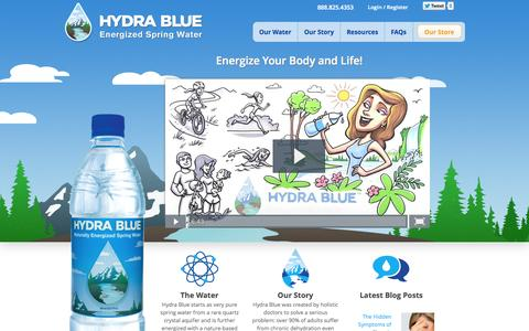Screenshot of Home Page hydrablue.com - Hydra Blue | Naturally Energized Spring Water - captured Oct. 3, 2014