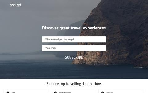 Screenshot of Home Page trvl.gd - Trvl.gd - Travel experiences. Curated with love. - captured March 13, 2016