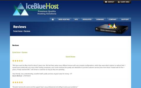 Screenshot of Testimonials Page icebluehost.com - IceBlueHost - Reviews - captured Jan. 8, 2016