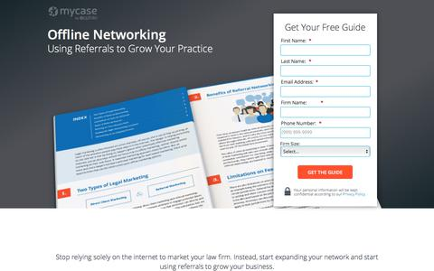 Screenshot of Landing Page mycase.com - Offline Networking: Using Referrals to Grow Your Practice :: MyCase Legal Resources - captured March 1, 2018