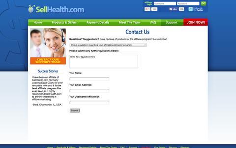 Screenshot of Support Page sellhealth.com - Health Affiliate Network, Affiliate Marketing Program, Contact, Sellhealth.com - captured Oct. 29, 2014