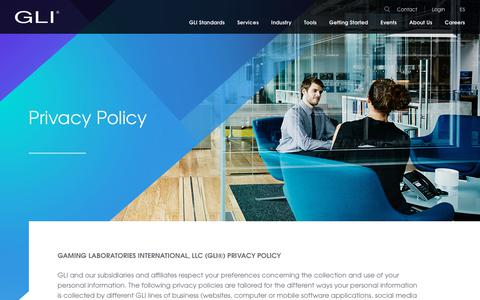 Screenshot of Privacy Page gaminglabs.com - Privacy Policy - Gaming Labs International - captured Dec. 13, 2018